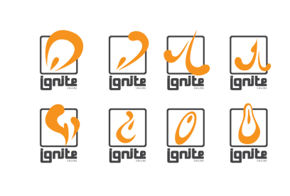 Concepts for Thrust Interactive's Ignite engine logo. (Illustrator)