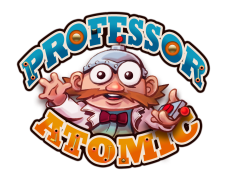 "Logo for the slot game ""Professor Atomic"""